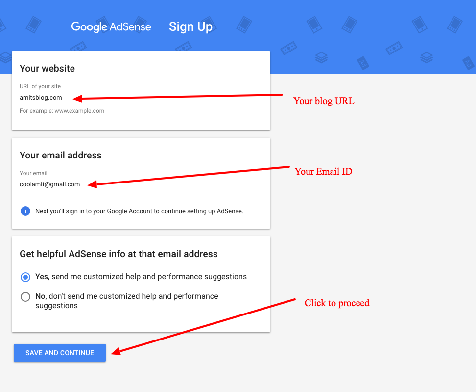 Sign up for Google AdSense - Step 1