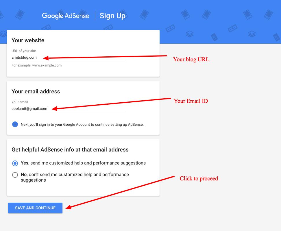 Sign up for Google AdSense - Step 1