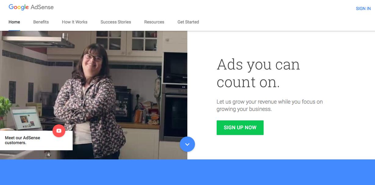 Start with Google AdSense