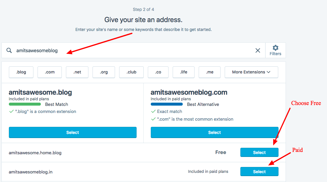 Step 3 - Create a blog Free - Domain Name