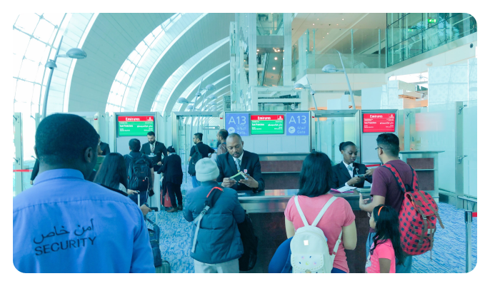 Check in at connection flight gate Dubai