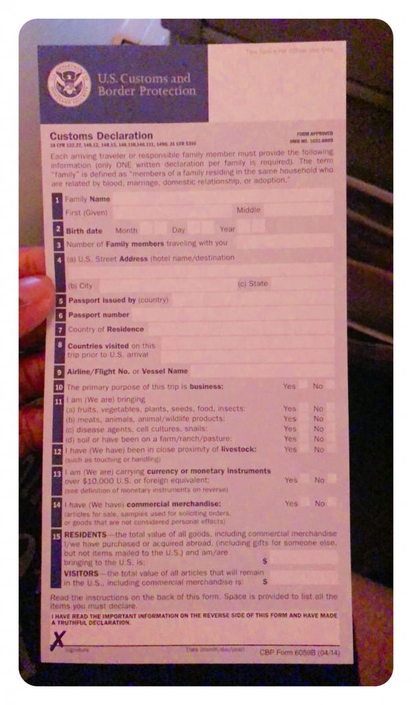 US Customs Immigration Form