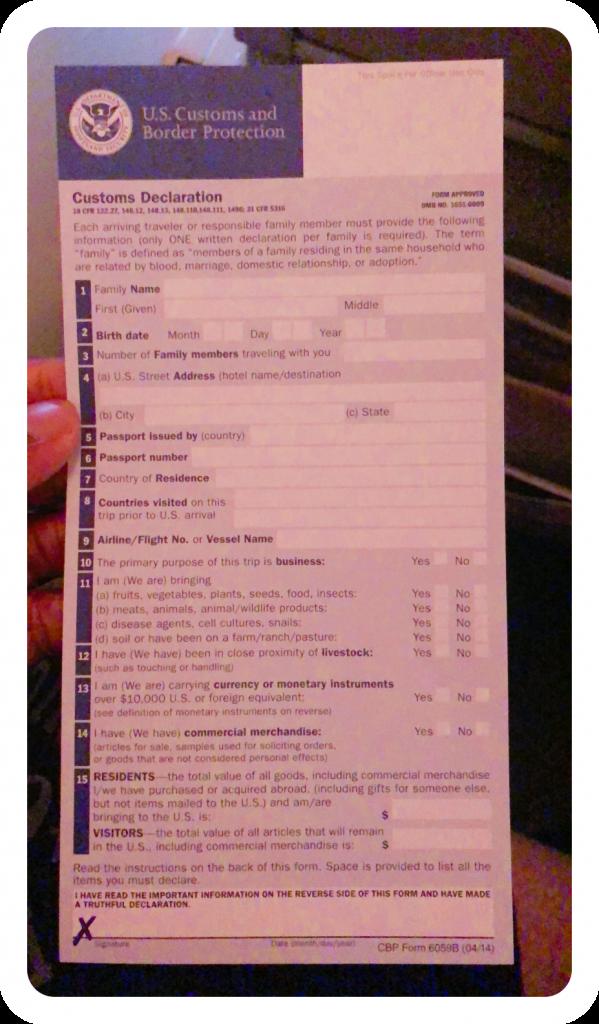 US Customs Immigration Form