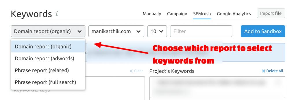 Add keywords from Domain report in SEMrush