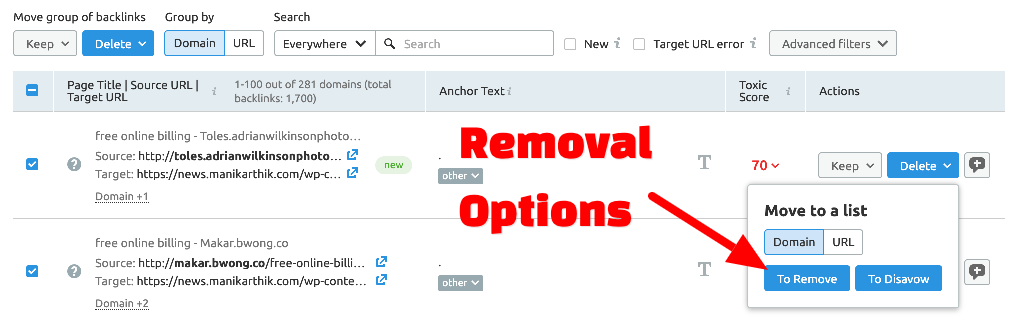 How to disavow with SEMrush