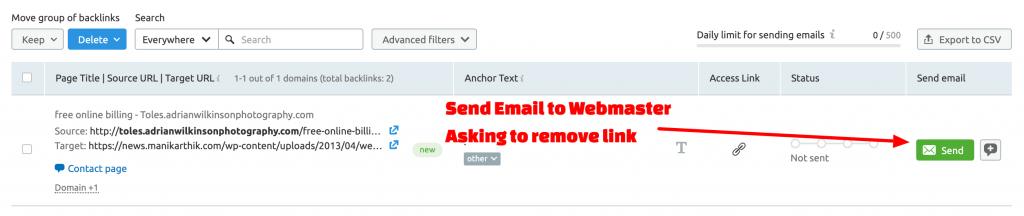 Manually remove bad links with SEMrush