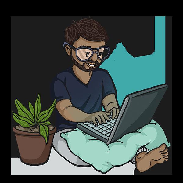 MK Blogging on Laptop